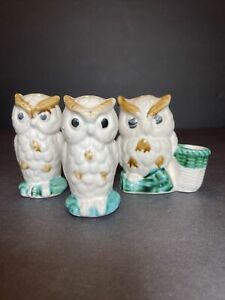 Vintage Owl Salt & Pepper Shakers & Toothpick Holder Turquoise White JAPAN