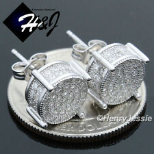 MEN 925 STERLING SILVER 10MM LAB DIAMOND ICED OUT BLING ROUND STUD EARRING*E82