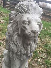 Large Fancy Detailed Lion CEMENT STATUE CONCRETE Lawn Garden Decoration Ornament