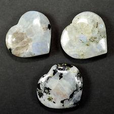 "2"" Rainbow Moonstone Heart Polished Crystal Mineral Stone Heart from India (1PC)"