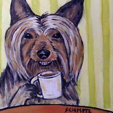 Australian silky terrier dog art Tile coaster *Gift Jschmetz coffee modern folk
