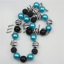 New Zebra Blue Pearl Beads chunky Kids Bubblegum necklace&bracelet set CB754