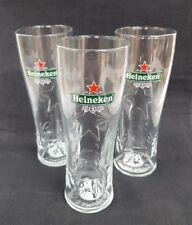 THREE HEINEKEN EMBOSSED HALF PINT GLASSES - NEW - IDEAL FOR HOME BAR - PUB