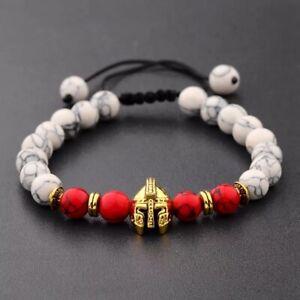 Knight Warrior Gladiator (Gold Vs Red & White) Men Women BEAD Bracelet