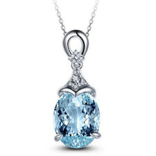 925 Silver  Charm Waterdrop Blue Topaz Gemstone Pendant Necklace Women Chain New
