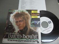 "DAVID BOWIE Japan Promo White Label 7""/45 with INSERT, UNDERGROUND EditedVersion"