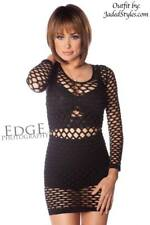 Sexy Black Net Cut-out Cover-up Layering Fitted Micro Mini Tunic Dress O/S punk