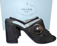 $890 Prada Jeweled Round Ball Black Suede Mules Pump Shoe 38 Sandal Slingback