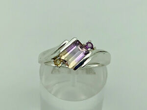 Gorgeous Modern Sterling Silver Ametrine, Amethyst & Citrine Band Ring Size T