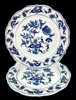 """Blue Danube Set of 2 Blue Onion 6 3/4"""" Bread/Dessert Plates Blue/White Banner"""