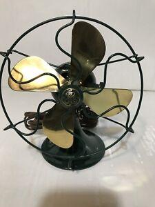 Antique GE 6 Inch Series-F Brass Blade Fan - Working  Green
