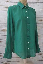 NWT J. CREW Womens 0 Emerald Green LS PERFECT SHIRT Silk Cotton Career