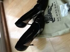 NEW Burberry Nova Check Platinum Black Patent Leather Classic Heels SZ 40.5