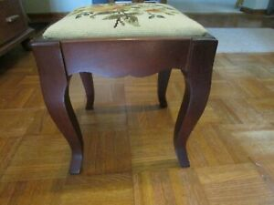Queen Anne Mahogany Stool 1702-1714 with needlepoint design. 11 in x 12 in.