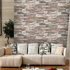 3D Effect Embossed Stone Brick Vinyl NaturalTextured Slate Wallpaper Roll