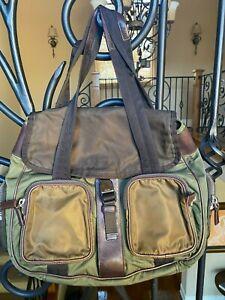 PRADA Tessuto nylon duffle bag. color: olive/tan. used. 100% authentic.