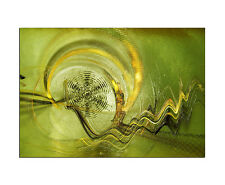 100x70cm Abstrakt Enigma Grün Gelb Wandbild Leinwand Keilrahmen Paul Sinus