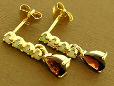 E038- Lovely 9ct Solid Gold NATURAL Garnet & Opal Stud DROP Earrings
