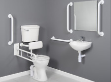 Disabled Bathroom Suite Low Level Comfort Height DocM Pack Toilet Blue Rails WH