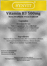 SYNVIT® Vitamin B3 500mg, Niacinamide 60 Capsules Niacin B3