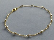 """Ankle Bracelet w/Round Beads Italy 925 10"""" Italian Sterling Silver/Gold Two Tone"""