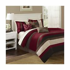 Madison Park Boulder Stripe King Size Bed Comforter Set Bed in A Bag - Burgun.