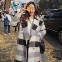 Women's Chic Loose Thicken Woollen Coat Winter Grid Over Knee Overcoat Korean WU