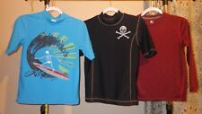 "Lot of 3 Kids Lg (10-14) Quick Dry Swim T-shirts 22-23"" Long 16"" Across Chest"