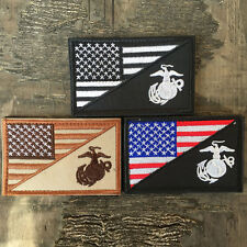 3PCS USMC Marine Corps American Flag US Military Tactical Morale Badge OPS Patch