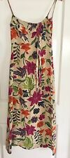 CHARLIE BROWN WOMENS DRESS MIDI FLORAL PURE SILK TAILORED STRAPS SZ 8