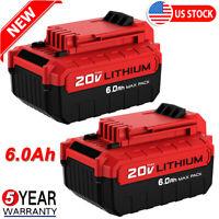 2X PCC685L 20V 6.0AH MAX Lithium-Ion Battery For Porter Cable PCC680L PCC682L