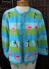 NEW Jack B Quick Cardigan Sweater - Blue w/ Pink Flamingo Embellished Appliques