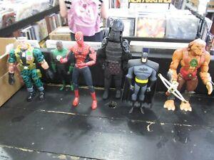 Lot o 6 ACTION FIGURES Marvel Spider-Man MOVIE '04 GREEN LANTERN Batman APE Used