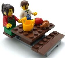 Lego 2 New Minifigures Having a Picnic Couple with Food Girl Guy City Figures
