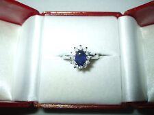 Genuine 1.02 ct Blue Sapphire & Diamond Ring 14K white gold $1050 NWT