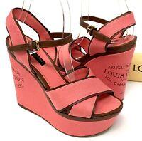 Authentic LOUIS VUITTON Logo Wedge Sole Sandals Heels #35.5 US 5.5 Pink Rank AB