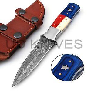 9 INCH UD CUSTOM DAMASCUS STEEL HUNTING SKINNER KNIFE FLAG HANDLE B4&-4091