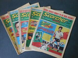 FIVE 1973 Vintage SCORCHER and SCORE Comics x2 Jan & x3 Feb Spurs / Celtic