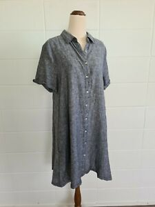 TAHARI Linen Button Up Shirt Dress sz Large