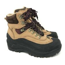 Sorel Womens Hiking Boots Beige Black Leather Lace Up Trail Outdoor 6 EU 35.5