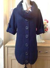 Vanilla Sand BHS Caravan Navy Chunky Knitted Big Button Dress Size-10 BNWT (B4U)