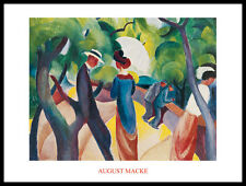 August Macke Promenade Poster Bild Kunstdruck mit Alu Rahmen in schwarz 60x80cm