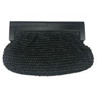Vintage Black Straw Raffia Woven Wood Wooden Handle Clutch Handbag Purse VTG