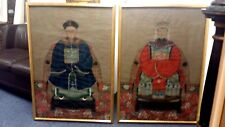 """VINTAGE PAIR ASIAN LARGE QUALITY PAINTINGS KING & QUEEN ON OLD PAPER 31X44"""" EACH"""
