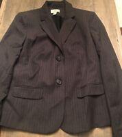 Ann Taylor Gray Pinstripe Dress Jacket Blazer Size 10P Lined Career  $109.99