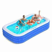 Paddling Pool, Inflatable Swimming Pool for Family Friends, 120x72x22