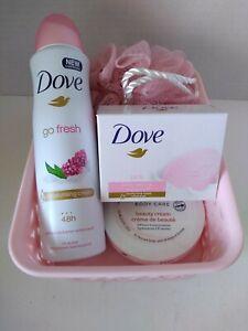 Dove Pink Gift Basket Bath Body Beauty Bar Cream Antiperspirant Sponge Women