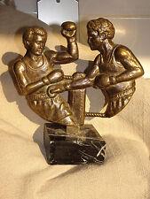 ANCIEN TROPHEE BRONZE MARBRE BOXEURS BOXE boxer VINTAGE boxing trophy statuette
