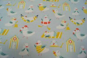 Jerseystoff Katia Fabrics Seagull Sand Möwen Sandhütten hellblau   145cmx50cm