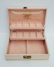 Vintage Jewelry Box Hard Leather Case With Silk Lining Felt Cream Pink 3 Tiers